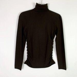 Theory Sweater Small Brown Turtleneck Stretch Gath
